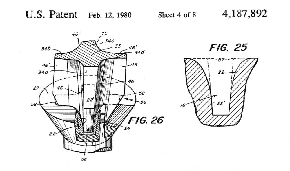 A representation of metal fall-away taken from a 1980 Phillips patent. Fig. 25 shows the deformation caused by metal fall-away.